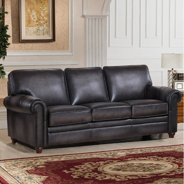 New Look Style Barta Leather Sofa by Darby Home Co by Darby Home Co