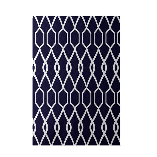 Charleston Geometric Print Spring Navy Indoor/Outdoor Area Rug by e by design