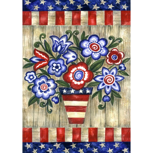 Patriotic Flowers 2-Sided Garden flag by Toland Home Garden