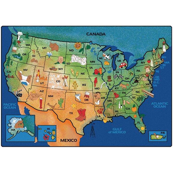 Emerado USA Learn and Play Area Rug by Zoomie Kids