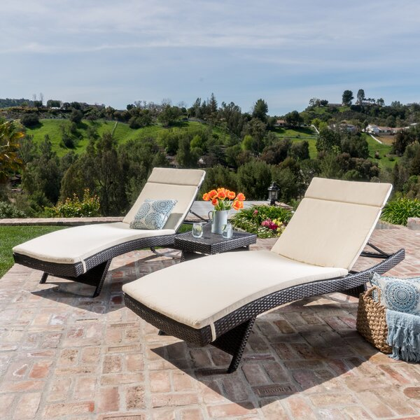 Ardoin Sun Reclining Chaise Lounge with Cushion and Table