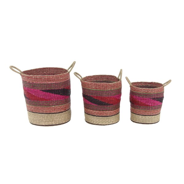 Traditional Round Multicolored Wicker Basket Set (Set of 3) by Langley Street