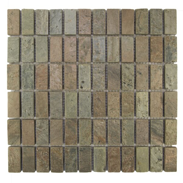 Rectangles 1 x 2 Natural Stone Mosaic Tile in Cooper by Pebble Tile