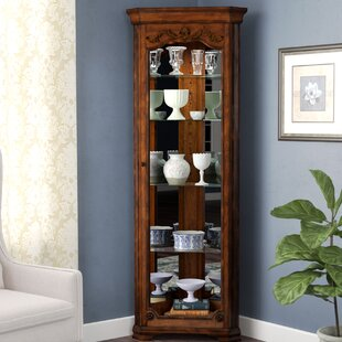 Beau Kenric Lighted Corner Curio Cabinet