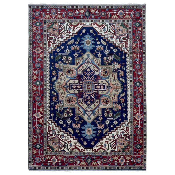 One-of-a-Kind Roselle Traditional Oriental Hand Woven Blue Fringe Area Rug by Isabelline