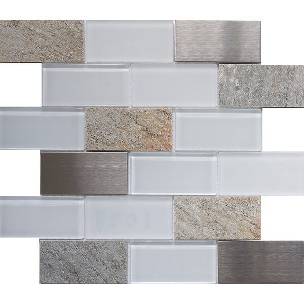 Tetris Sevilla 2 x 4 Glass/Stone Mosaic Tile in White/Gray by Matrix Stone USA