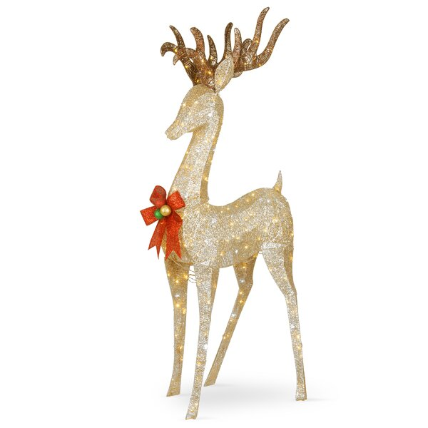 Pre-Lit Crystal Champagne Standing Buck Lighted Display by The Holiday Aisle