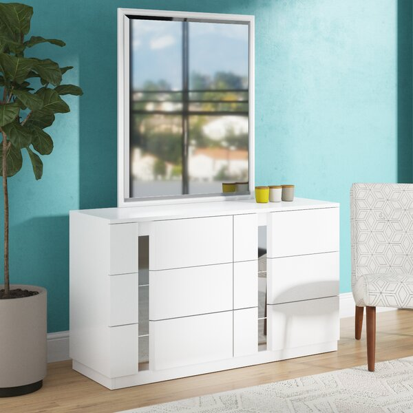 Lisbeth 6 Drawer Double Dresser with Mirror by Wade Logan