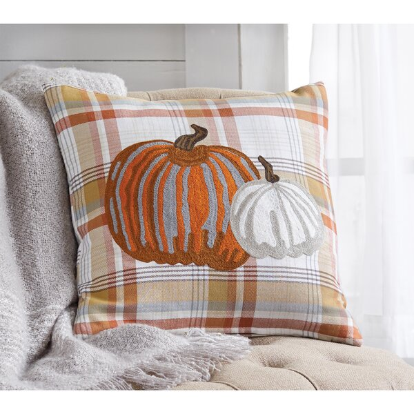 Plaid Pumpkin Cotton Throw Pillow by Mud Pie™