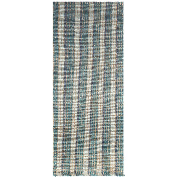 Koleby Striped Hand-Woven Teal Area Rug by Highland Dunes