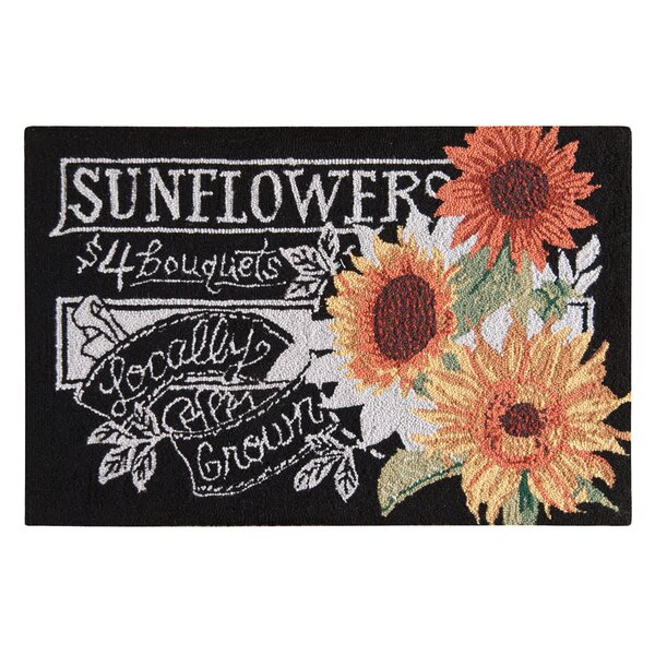 Gasser Sunflowers Wool Black Area Rug by August Grove