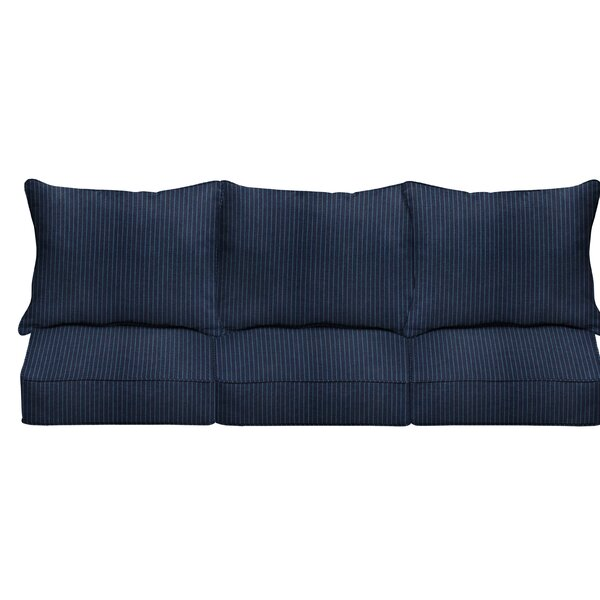 6 Piece Deep Seating Striped Indoor/Outdoor Sunbrella® Sofa Cushion Set By Mozaic Company