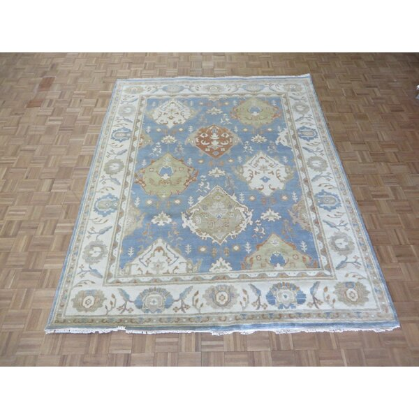 One-of-a-Kind Eladia Oushak Hand-Knotted Wool Light Blue Area Rug by World Menagerie