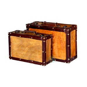 2 Piece Old Vintage Suitcase Trunk Set