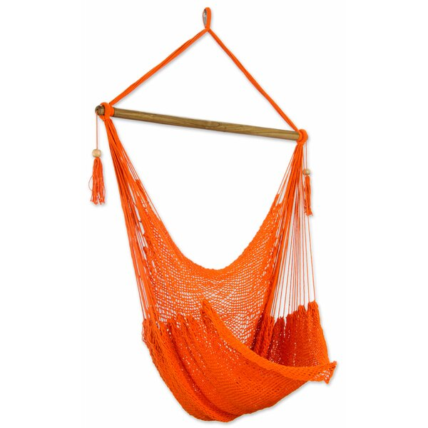 Tropical Tangerine Cotton Chair Hammock by Novica