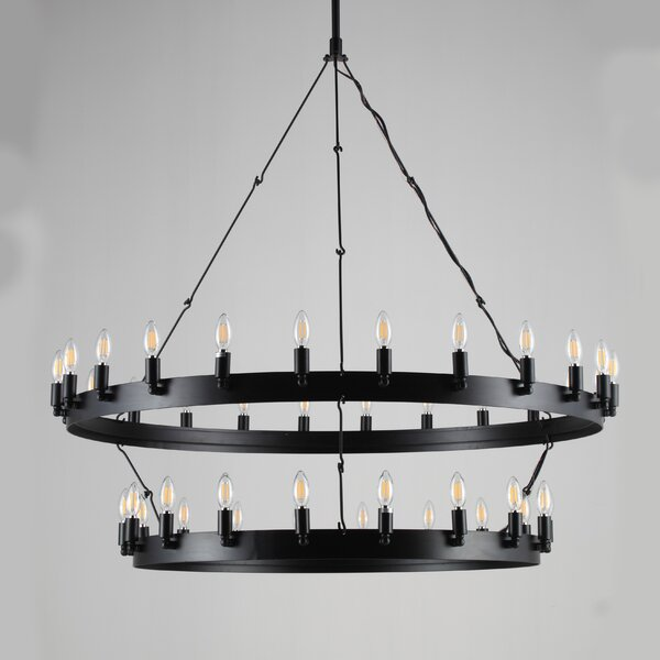 Quinnwood 30 - Light Candle Style Wagon Wheel Chandelier With Wrought Iron Accents By Gracie Oaks