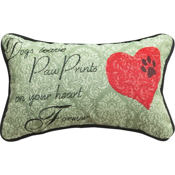Dogs Leave... Heart Forever Word Lumbar Pillow by Manual Woodworkers & Weavers