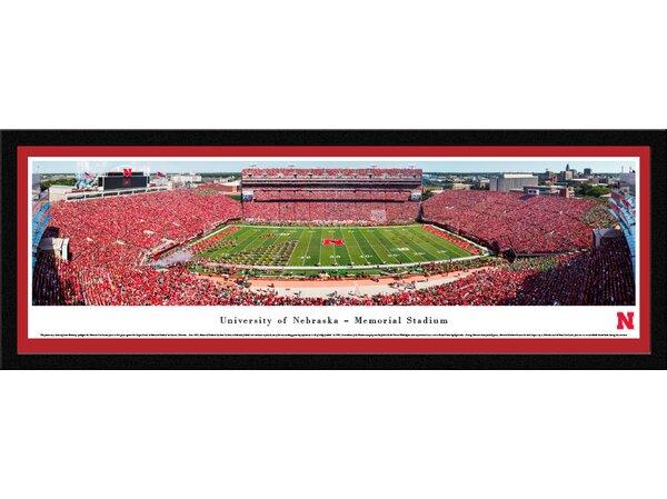 NCAA Nebraska Cornhuskers Football 50 Yard Line Framed Photographic Print by Blakeway Worldwide Panoramas, Inc