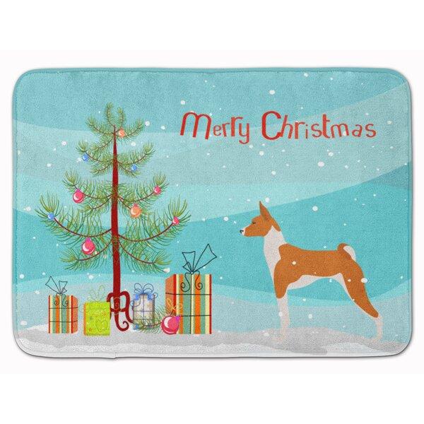 Basenji Merry Christmas Tree Memory Foam Bath Rug by The Holiday Aisle