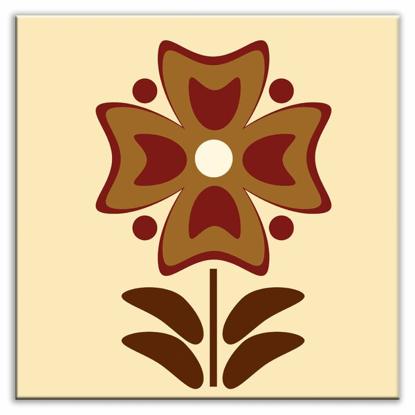 Folksy Love 4-1/4 x 4-1/4 Glossy Decorative Tile in Gardenia Burgundy by Oscar & Izzy