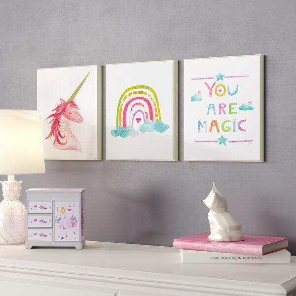 Orly Are Magic Rainbow and Unicorn Decorative Plaque (Set of 3) by Harriet Bee