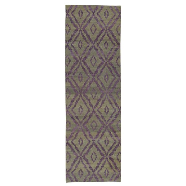 One-of-a-Kind Durie Kilim Flat Weave Reversible Hand-Knotted Purple/Taupe Area Rug by Ebern Designs