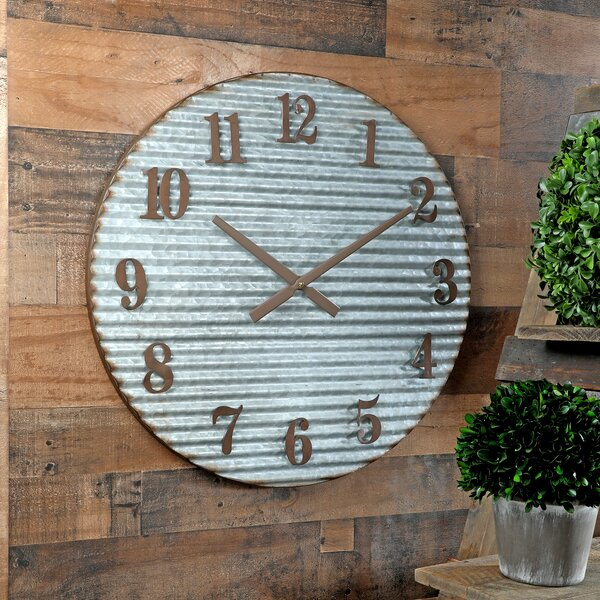 Oversized Telscombe Galvanized Corrug 23.5 Wall Clock by Williston Forge