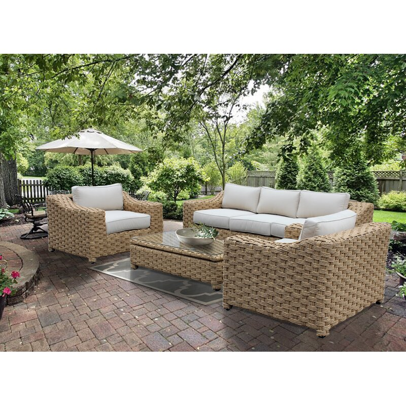 Brayden Studio Dutil 4 Piece Rattan Sofa Set With Cushions