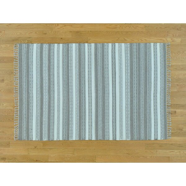 One-of-a-Kind Bismarck Reversible Striped Handmade Kilim Wool Area Rug by Isabelline