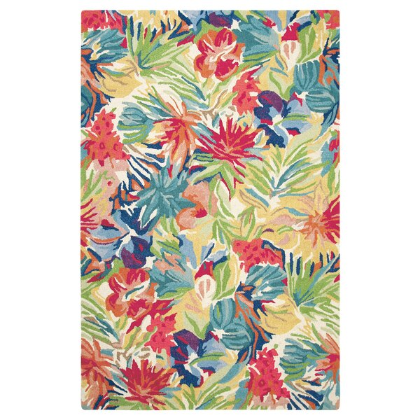 Hibiscus Hand-Tufted Red/Green Area Rug by CompanyC
