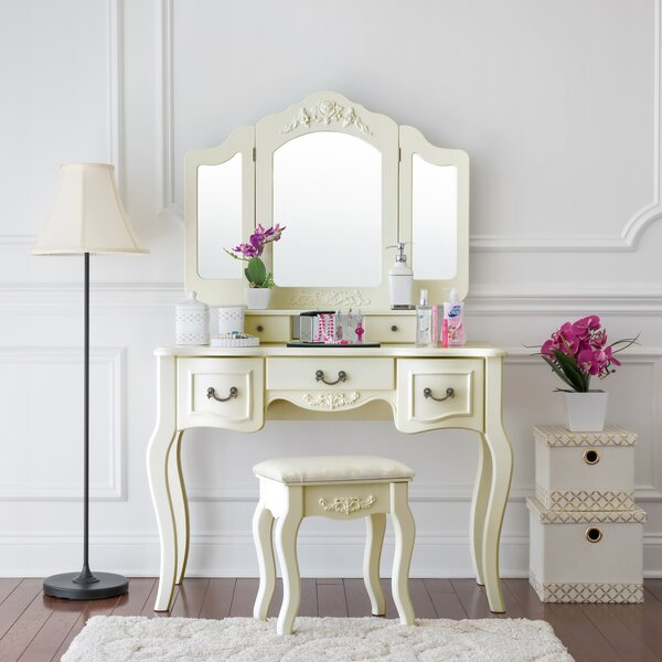 Brashears Beauty Station Makeup Table and Wooden Stool Vanity Set by House of Hampton
