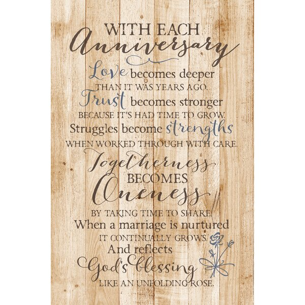 With Each Anniversary… Textual Art Plaque by Dexsa