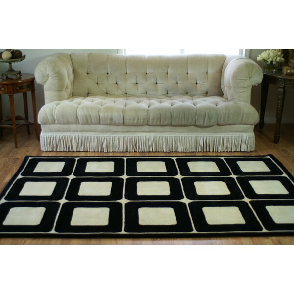 Casual Contemporary Blocks HandTufted Wool Ivory/Black Area Rug by American Home Rug Co.