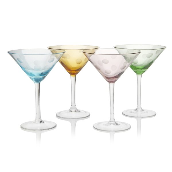 Brumit Polka Dot 8 Oz. Martini Glass (Set of 4) by Ivy Bronx