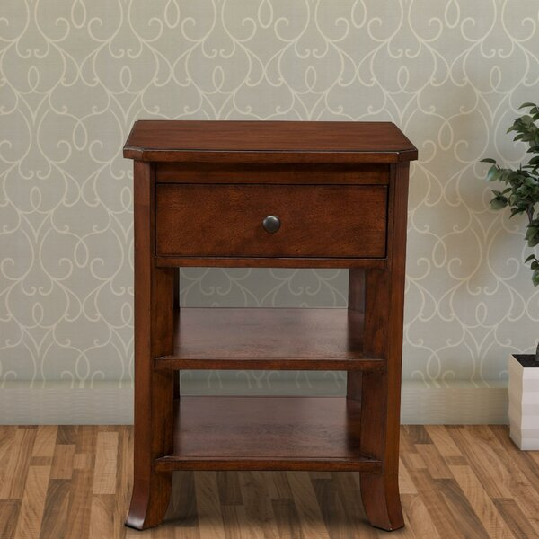 Review Nikolas Chicly Trimmed 1 Drawer Nightstand