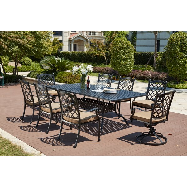 Waconia Traditional 9 Piece Dining Set with Cushions by Darby Home Co