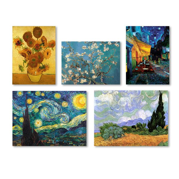 5 Piece Graphic Art by Vincent Van Gogh Painting Print on Wrapped Canvas Set by Charlton Home
