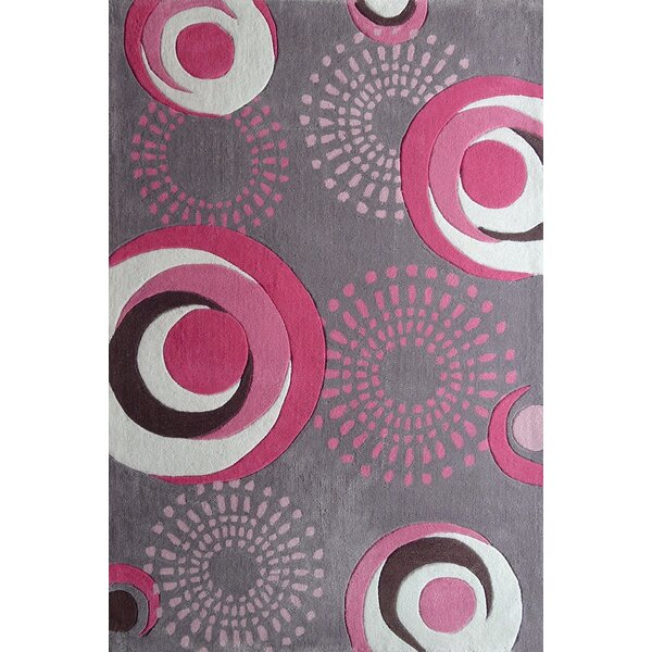 Hawkin Circles Hand-Tufted Gray/Pink Area Rug by Zoomie Kids