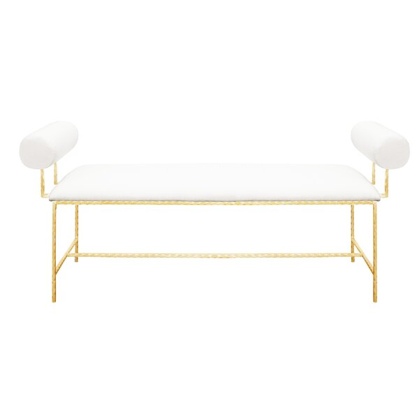 Bolster Arm Leaf Upholstered Bench by Worlds Away