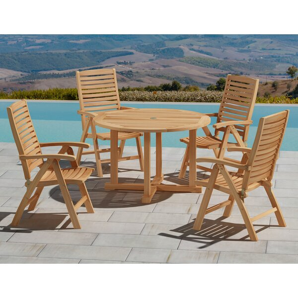 Dwyer 5 Piece Teak Dining Set by Rosecliff Heights