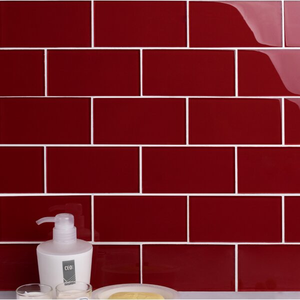 Premium Series 3 x 6 Glass Subway Tile in Glossy American Red by WS Tiles