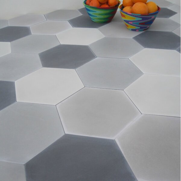 Solid Mixed Hex 8 x 8 Cement Field Tile in Gray by Villa Lagoon Tile