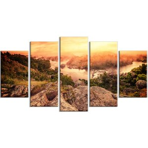 'Vintage Mountain Sunrise' 5 Piece Wall Art on Wrapped Canvas Set by Design Art