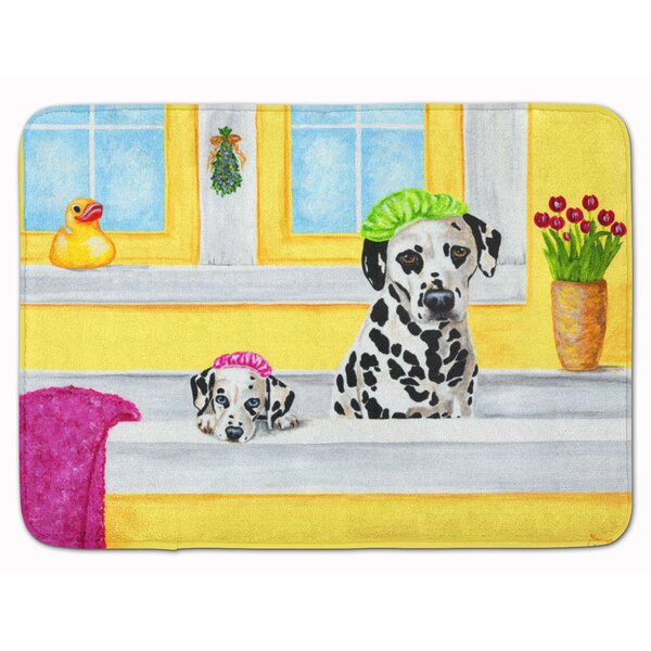 Bath Day Dalmatian Rectangle Microfiber Non-Slip Bath Rug