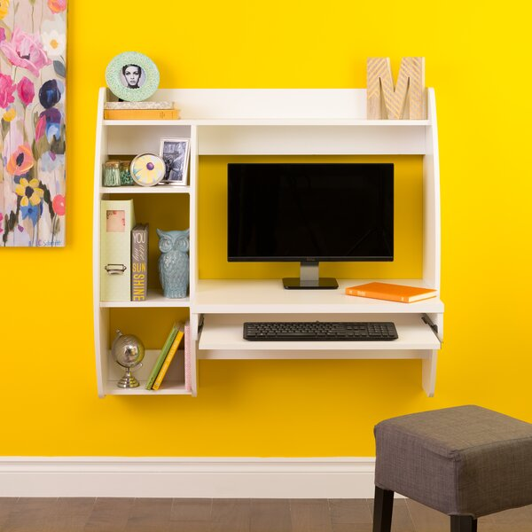 Dowlen Floating Desk with Storage and Keyboard Tra