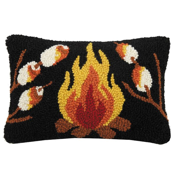 Azaiah Smores and Campfire Hook Wool Lumbar Pillow by Millwood Pines
