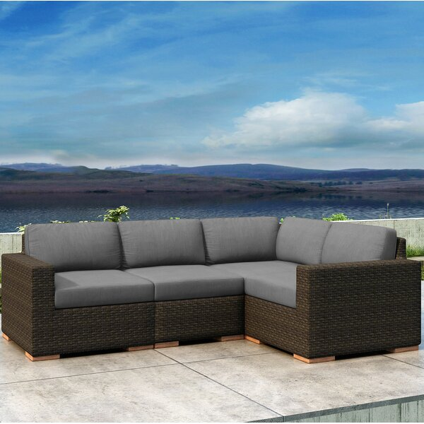 Glen Ellyn 4 Piece Sectional Seating Group with Sunbrella  Cushion by Everly Quinn
