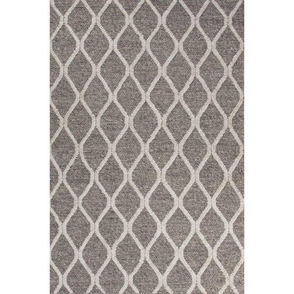Moquin Hand-Woven Wool Dark Gray/Ivory Area Rug by Latitude Run