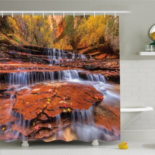 National Parks Home Wide Angle Shot Of The Waterfalls Stream West Canyon Falls In Autumn Shower Curtain Set
