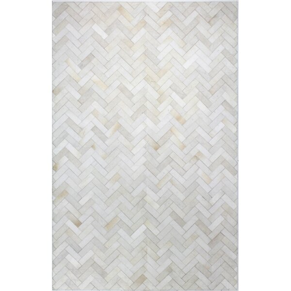 Foraker Cow Hide Hand-Woven Cream Area Rug by Tren
